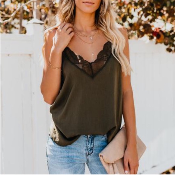 c9112aa39c4 Vici- Delicate Balance Lace Cami Tank - military NWT
